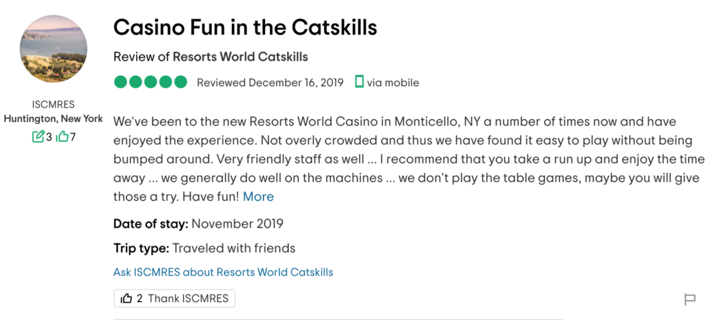 catskills review of a customer