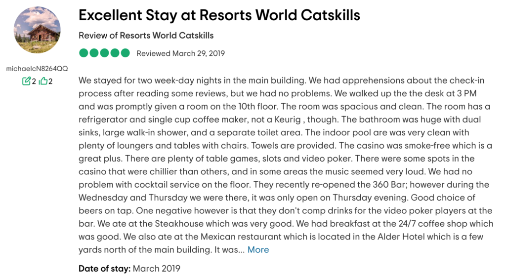 Excellent Stay at Resorts World Catskills